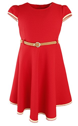 Lilax Little Girls' Textured Solid Flowing Dress with Belt 2T Red (School Girl Fancy Dress Ideas)