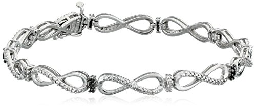 Sterling Silver Genuine Black and White Diamond Infinity Link Bracelet, 7.5