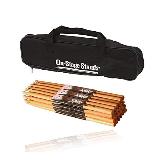 On Stage Hickory 5A Wood Tip Drumsticks 12 Pairs + Drumstick Bag (Holds 12 Pairs)