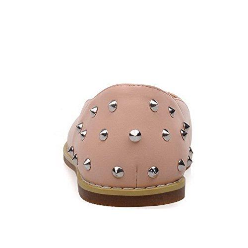 AllhqFashion Damen Ziehen auf Niedriger Absatz Eingelegt Rund Zehe Flache Schuhe Pink