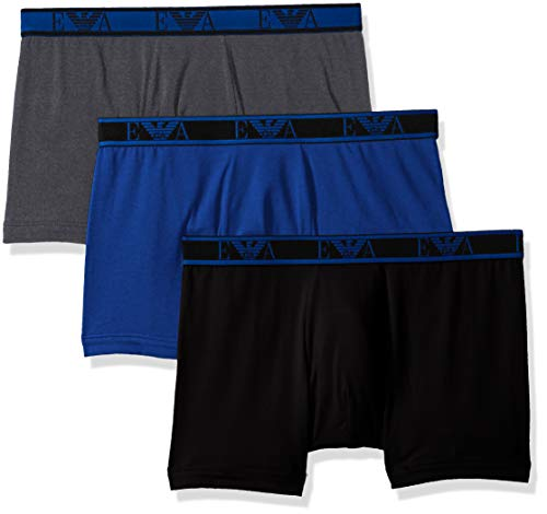 - Emporio Armani Men's Stretch Cotton EA 3 Pack Boxer Brief, Black/Mazarine/Anthracite, Large