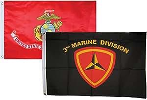 2x 32'x3' al por mayor Combo USMC Marines EGA y 3ª división de marina bandera de banderas