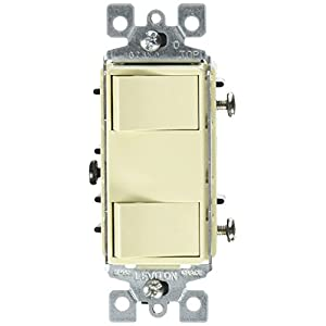 Leviton 1754-ILI 15 Amp, 120 Volt, Individual Switches, 2 Switch Combination, Illuminated Dual Rocker, Ivory