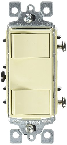Leviton 1754-ILI 15 Amp, 120 Volt, Individual Switches, 2 Switch Combination, Illuminated Dual Rocker, Ivory