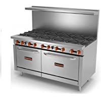 Sierra Gas Range SR-10-60 (10) 30,000 BTU heavy duty cast iron burners, 32,000 BTU oven burner