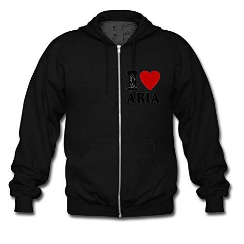 I Love Aria Heart Custom Men's Hoody Zip Hoodie Sweatshirt Jacket Black Small