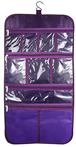 Premium Hanging Toiletry Travel Bag - Cosmetic, Jewelry, Toiletry & Accessory Storage Organizer Bag, Large Size, Various Compartments (Purple)