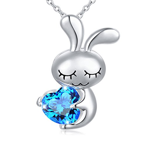 DAOCHONG Birthday Gift 925 Sterling Silver Blue Cubic Zirconia Love Heart Cute Rabbit Bunny Pendant Necklace for Women Girls, 18