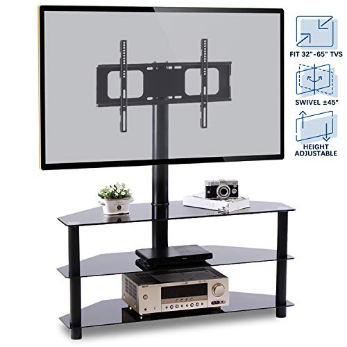 Rfiver Corner Floor TV Stand with Swivel Mount for Most 32