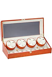Diplomat Burl Wood Eight Watch Winder with Off-White Leather Interior and 4 Program Settings #31-419