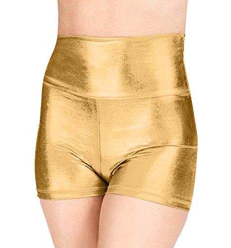 Mocure Women's Elastic High Waist Metallic Booty Shorts