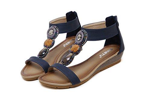 Ommda Women's Bohemian Beaded Low Wedge Sandals Zipper Navy V8BwlsiB