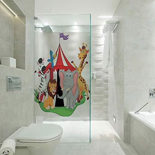 3D No Glue Static Decoration Window Film Glass sticker,Trained Performer Acrobat Animals in Circus Tent Happy Giraffe Elephant Joyful Art,Customizable size,Suitable for bathroom,door,glass etc,Red Gre ()
