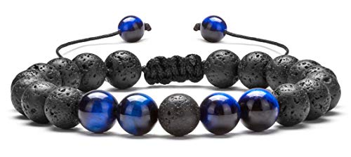 Hamoery Men Women 8mm Lava Rock Aromatherapy Anxiety Essential Oil Diffuser Bracelet Adjustable Natural Stone Yoga Beads Bracelet Bangle(Blue Tiger Eye) (Stones That Help With Anxiety And Depression)