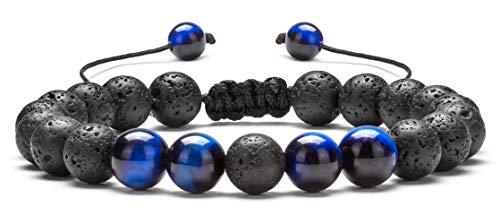Hamoery Men Women 8mm Lava Rock Aromatherapy Anxiety Essential Oil Diffuser Bracelet Adjustable Natural Stone Yoga Beads Bracelet Bangle(Blue Tiger -