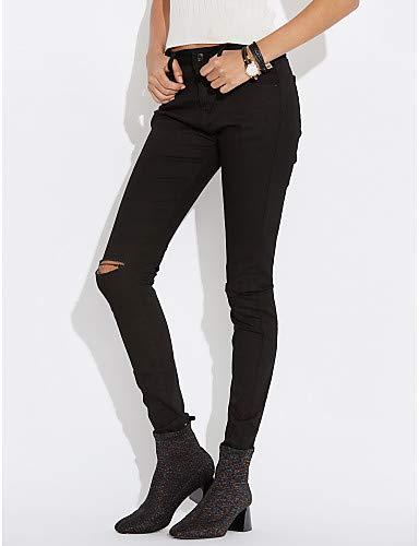 Haute pour Jeans Solide White YFLTZ Taille Slim Femme Pantalon Chino AxTaw0qRO