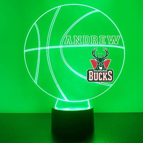 Milwaukee Handmade Acrylic Personalized Bucks NBA Basketball LED Night Light - Remote, 16 Color Option, Great Personalized Gift, Engraved