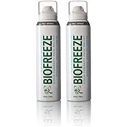 Biofreeze Pain Relief 360 Spray for Arthritis, Cold Topical Analgesic, Fast Acting & Long Lasting Cooling Pain Reliever for Muscle, Joint, and Back Pain, Colorless Formula, Pack of 2, 4 oz. Bottles