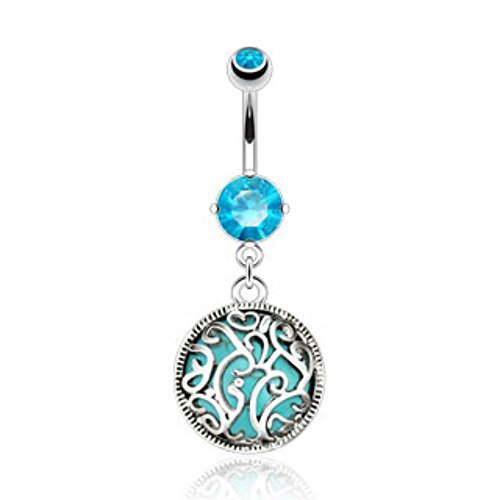 Swirls Medalian Turquoise Precious Stone Navel Ring Freedom Fashion 316L S. Steel