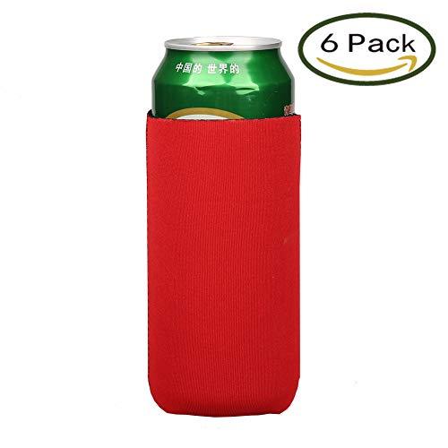 E - Living 500ML (16.9 OZ) Collapsible Neoprene Can / Beer / Bottle / Beverage Cooler / Coolie / Cover / Insulator / Holder/ Huggie / Sleeve for Cola / Beer / Soda - 6 Pack (Red)
