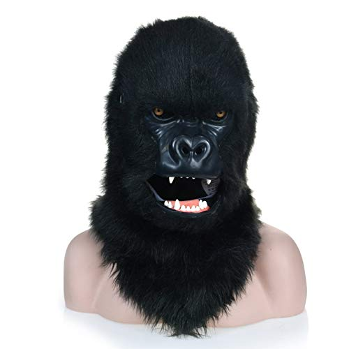 Beixi Fur Gorilla Head Mask ape Headgear with Moving Mouth Creature Mask Black Gorilla Fauna Carnival Face Masks (Color : Black, Size : 2525)