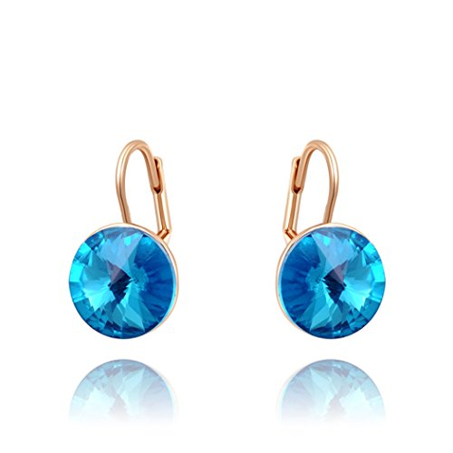 Price comparison product image Duo La Elegant 18K Rose Gold Plated Blue Cubic Zirconia Charm Lady Hoop Earrings
