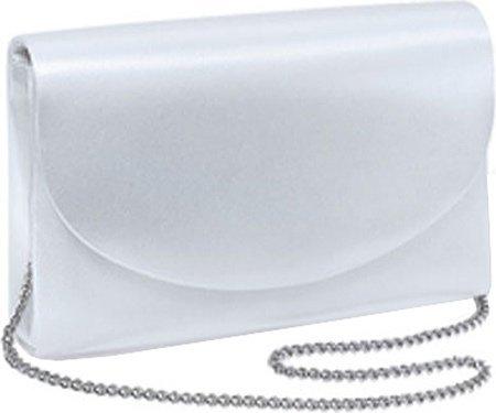 Dyeables Women's 250 Bridal Handbag,White Satin w/Silver Chain ()