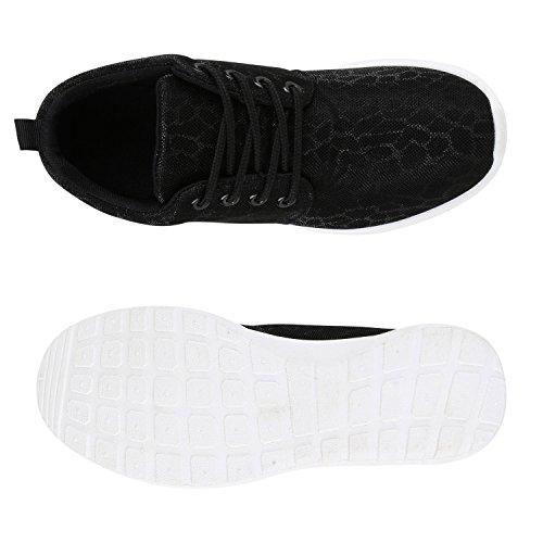 Prints Sportschuhe Trendfarben Damen Fitness Glitzer Sneakers Flandell Schwarz Runners Übergrößen Laufschuhe T11dxP0w