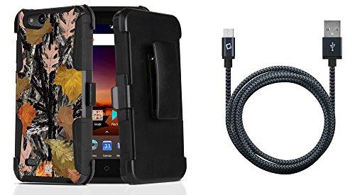 ZTE Blade Vantage Z839 (Verizon) - Bundle: Dual Layer Rugged Kickstand Belt Holster Case (Fall Camo), Heavy Duty Braided Micro USB Data Sync Charging Cable (5 Feet / 1.5 Meters), Atom Cloth