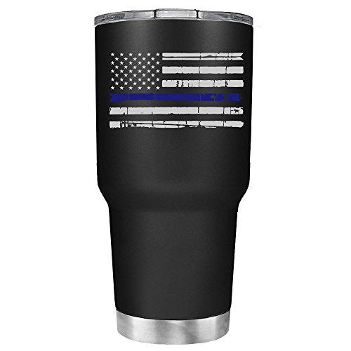 Distressed Thin Blue Line Police Flag on Black Matte 30 oz Stainless Steel Tumbler with Lid - Insulated Cup - Travel Mug - Police Officer Law Enforcement Gift Police Stainless Steel