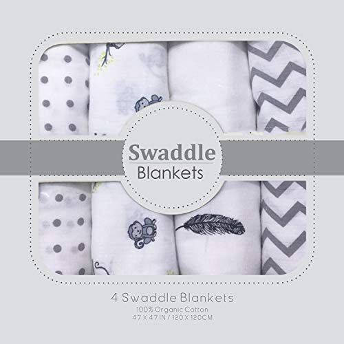 Muslin Swaddle Blankets - Soft Silky 100% Muslin Cotton Swaddle Blanket for Baby, Large 47 x 47 inches, Set of 4- Zig Zag, Polka, Wing & Monkey Print in Grey Pattern