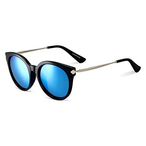 CAXMAN Women's Cateye Frame Retro Style Polarized Sunglasses Mirror Lenses (Blue Mirror Lens/Black Frame, - Sunglasses Dark Tint Very
