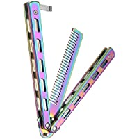 ETbotu Rainbow Foldable Comb Stainless Steel Practice Training Butterfly Knife Comb Beard & Moustache Brushes Hairdressing Styling Tool
