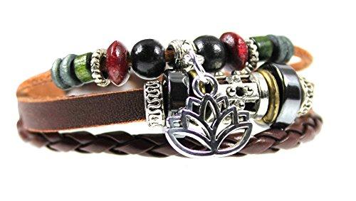Fleur de Lotus Charm Perles Bracelet cuir Zen est réglable 5.5à 19,1cm, dans une boîte cadeau