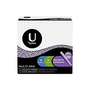 U by Kotex Security Tampons, Multipack, Regular/Super Absorbency, Unscented, 108 Count (6 Packs of 18)