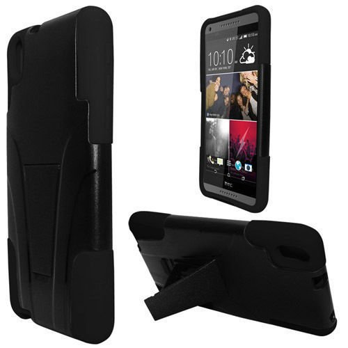 HTC Desire 816 Case, Allmet Heavy Duty Rugged Impact Hybrid Case Cover For HTC Desire 816 Case; Black Hard Shell Combo Holster Case cover Kickstand Protective Case for HTCDesire 816 Case (Black) (Faceplate Color Blue Transparent)