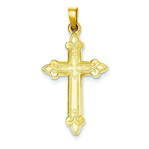 14 carats Fleur de lis lys pendentif en forme de croix-Dimensions :  34,8 x 17,9 mm JewelryWeb -