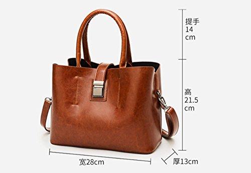 Portable Rétro Sacs Bandoulière Capacité Brown Mode De Sac Grande Meaeo Bourse Main À Nouvelle Rouge D'Huile Épaule De PRqn1p