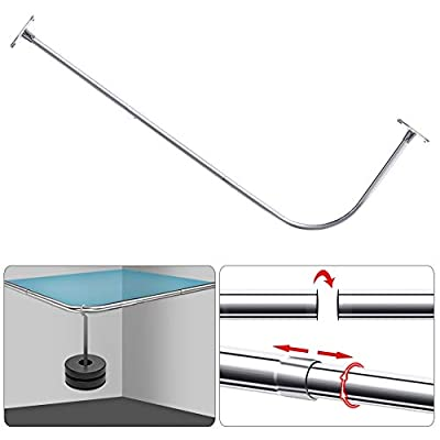 "PrettyHome Curved Shower Rod L Shaped Corner Shower Curtain Rods Never Rust Bathroom Curtain Rail 28""x68"" Chrome"