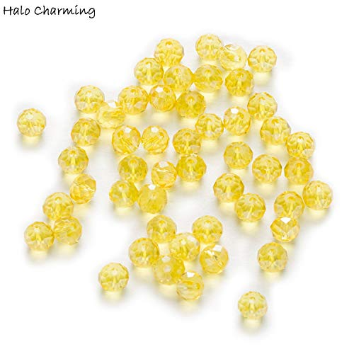Calvas 50 Piece Yellow AB Color Crystal Glass Rondelle Quartz Faceted Beads for Handmade Making Bracelet Necklaces DIY 4-8mm - (Item Diameter: 6x4mm)