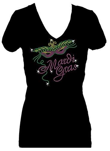 Mardi Gras Rhinestone Party New Orleans V Neck Short Sleeve Tee Shirt (1X) Black