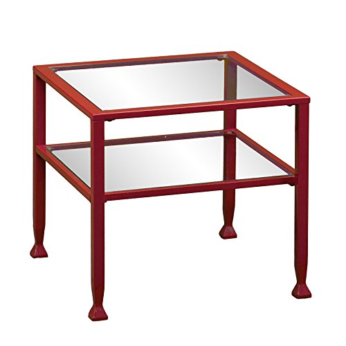 Southern Enterprises Glass Bunching Cocktail Table, Red Finish