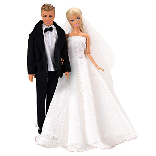 Barwa Wedding Set White Wedding Dress with Veil and Formal Suit Outfit for Barbie Ken Doll