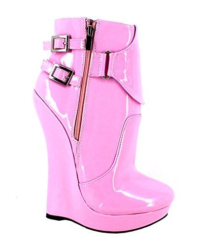 Wonderheel wedge Lackleder fetisch pink Kurzschaft stiefel ankle boots