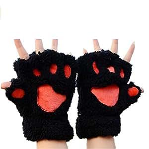 Buwico guantes de invierno sin dedos, diseño de patas de gato, negro, 10 Pairs/Pack