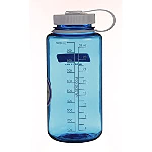 Nalgene Tritan Wide Mouth BPA Free Water Bottle, Blue w/ White Cap, 32 Ounces
