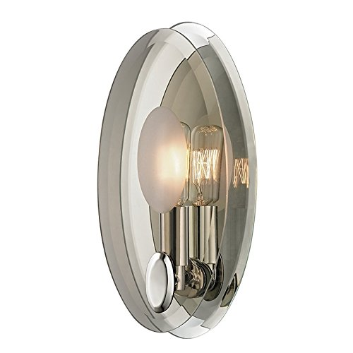 Galway 1-Light Wall Sconce - Polished Nickel Finish with Clear, Smoke Glass Shade