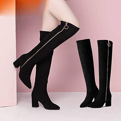 La De Botas Sobre Zapatos Mujer Mujer Boots Altas Rodilla Negro Alto Tacón Para vt5wzq