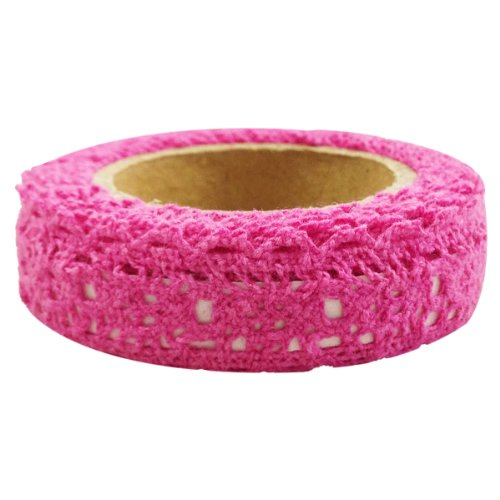 Wrapables Decorative Lace Tape, Hot Pink