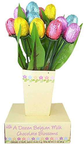 Dozen Belgian Milk Chocolate Easter Tulip Blossoms Bouquet, 2.11 Ounce